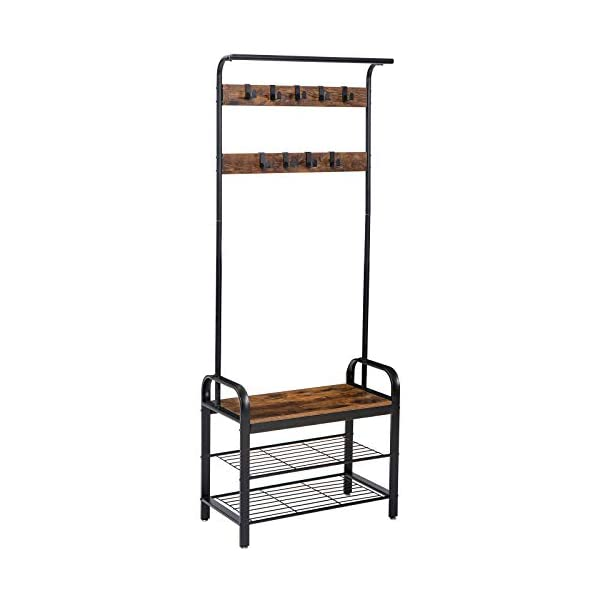 IBUYKE Industrial Coat Rack Shoe Bench, 3-in-1 Hall Tree with Storage Shelf for Entryway, Coat Rack Stand with Hanging Bar and 9 Metal Double Hooks, Easy Assembly, Rustic Brown and Black TMJ001H