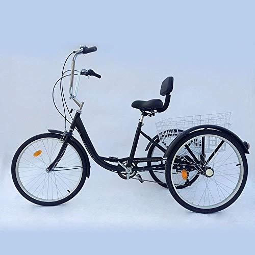 "lqgpsx Triciclo para Adultos de 3 Ruedas de 24 "", Triciclo de Bicicleta con Asiento de Canasta,…"