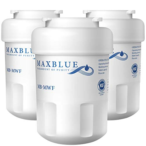 Maxblue MWF Refrigerator Water Filter, Replacement for GE Smart Water MWF, MWFINT, MWFP, MWFA, GWF, HDX FMG-1, GSE25GSHECSS, WFC1201, RWF1060, 197D6321P006, Kenmore 9991, r-9991, 3 Filters