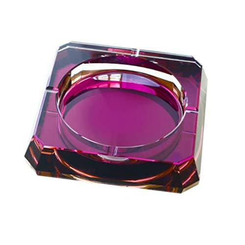 JINGER Titular de Ceniza Crystal Ashtray Glass Tabletop Ash Bandeja Cuadrado Portátil Portátil Portátil Portátil Bandeja para Ash Threat Cenicero Duradero y Hermoso. (Color : Purple, tamaño :