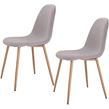 Giantex Dining Side Chairs Steel Legs Wood Look Fabric Cushion Seat Home Dining Room Furniture (Set Of 2)