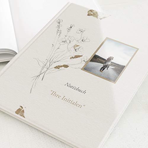 sendmoments Leeres Notizbuch, personalisiert mit Ihrem Text und -Bild, Blüten & Büttenpapier, Schreibbuch, hochwertige Blanko-Innenseiten, Hardcover-Buch, Hochformat, 32 Seiten oder mehr, floral