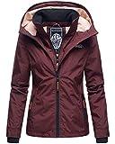 MARIKOO Damen Regen Jacke Outdoor Regenjacke Winterjacke Fleece Gefüttert Kapuze XS - XXL Erdbeere (S, Wine)