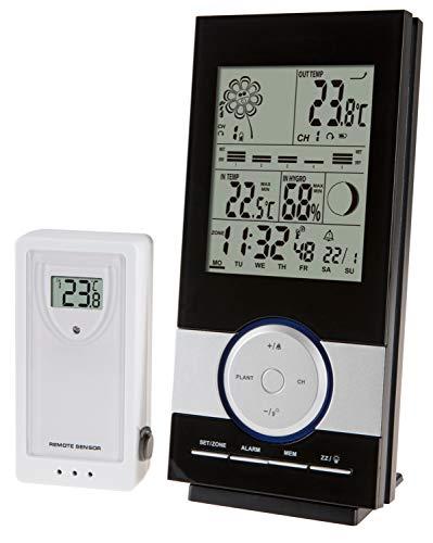 Krippl-Watches Digitale Funkwetterstation mit Pflanzen-/Poolmonitor, Farbe:schwarz