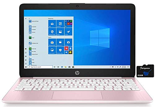 2021 HP Stream 11.6-inch HD Laptop PC, Intel Celeron N4020, 4 GB RAM, 64 GB eMMC, WiFi 5, Webcam, HDMI, Windows 10 S with Office 365 Personal for 1 Year + Fairywren Card (Rose Pink)