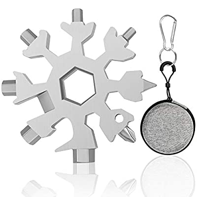 Glodeals 18-in-1 Snowflake Multi Tool Portable Stainless Steel Multi-Tool for Outdoor Travel Camping Adventure Daily Tool (Silver)