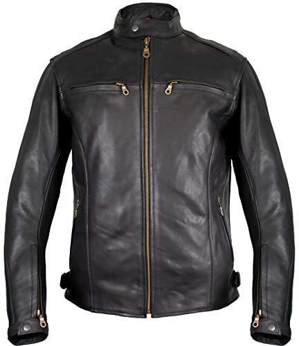 Herren Lederjacke, Motorrad Lederjacke, Bikerjacke, Rind Leder, (XL)