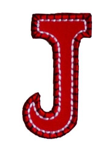 J 9cm ABC rot blau Buchstaben Aufbügler persönlich Dekoration Geschenk zum Aufbügeln auf Tasche Turnsack Fahne Wimpel Türschild Kissen Hemd Jeans Rock Hosen Kleider Kappe Hut Jacke Schal Halstuch Dec