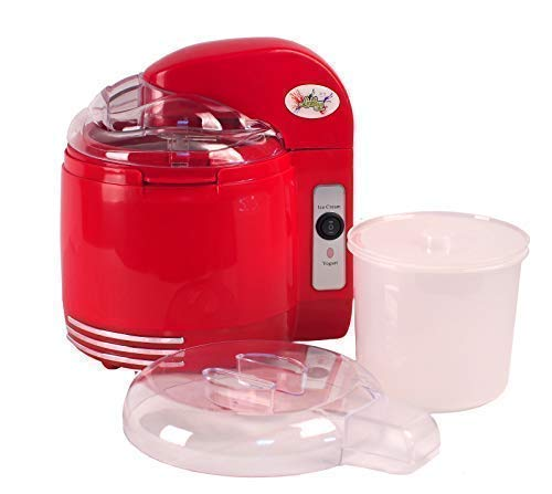 Lickleys Two-In-One Gelato & Yogurt Maker con Staccabile Mescolando Pagaie, Makes Ice Crema Gelato Frozen Yogurt Sorbet Fatto in Casa Yogurt - Rosso, 2-in-1 Ice Cream & Yogurt Maker