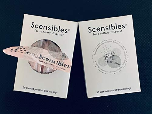 Scensibles Disposal Bags for Menstrual Care Products - 50 ct Refill Box - for Disposal of Tampons, Pads, Panty Liners, Hygiene Products