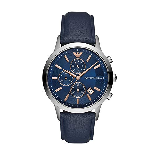 Emporio Armani Herren Chronograph Quarz Uhr mit Leder Armband AR11216