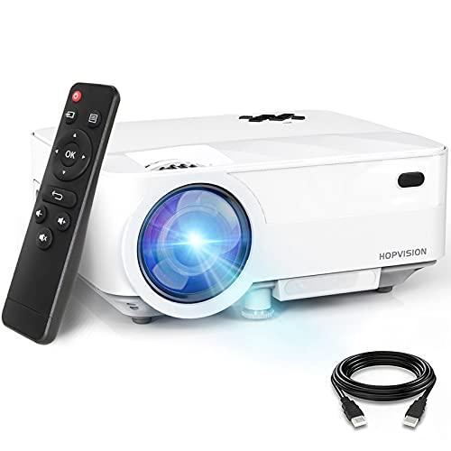 """HOPVISION Mini Proiettore 1080P Full HD,Video Proiettore Portatile 5500 Lumen con Display da 240"""",Proiettore LCD per 90000 ore,Compatibile con HDMI/AV/USB/SD/VGA"""