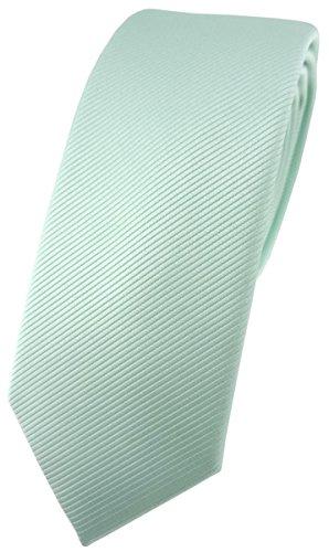 TigerTie schmale Designer Krawatte in mint grün einfarbig Uni Rips gemustert