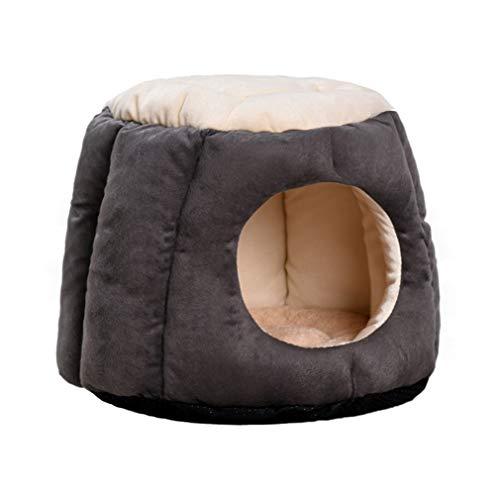 Pet bed 3 In 1 Runde Katze Kleine Hundebett Weichen Schlafsack Verformbare Haustiere Iglu Haus Nest Höhle (Color : Dark Gray, Size : 50 * 35cm)