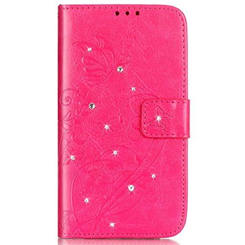 kompatibel mit Wiko Rainbow 4G Hülle,Handyhülle Wiko Rainbow 4G Lederhülle Blume Schmetterling Glitzer Strass Diamant PU Leder Flip Hülle Wallet Tasche Cover Schutzhülle für Wiko Rainbow 4G,Rosa Pink