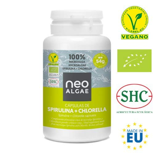 Spirulina y Chlorella en Cápsulas | Producción 100% Orgánica| Spirulina y Chlorella Ecológica | Tomadas Juntas Potente Efecto Detox y Antioxidante | 350 mg por Cápsula | 120 Cápsulas | Neoalgae