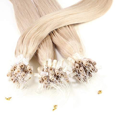 Hair2Heart 25 x 0.5g Extensiones de Micro Ring Pelo Natural - 40cm - Liso, Color 20 Cenicienta es Rubia