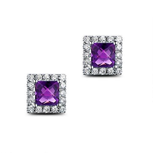KnSam - Pendientes de plata de ley 925 para mujer, amatista, cuadrados, joyas de moda para mujeres y madres