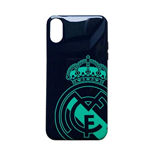 Carcasa Negra con Escudo a Color del Real Madrid Club de Futbol para iPhone XR