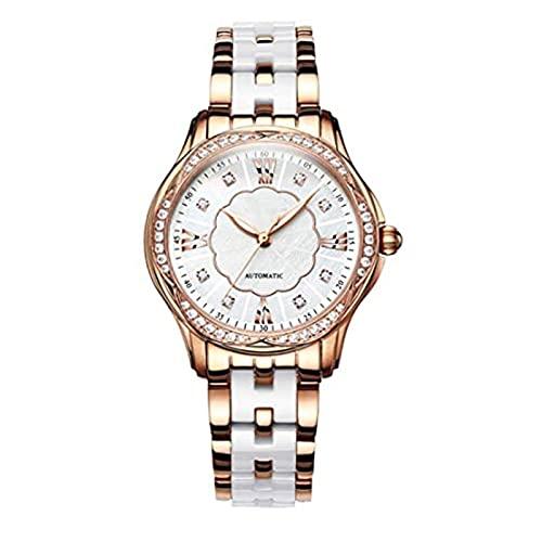 SKYWPOJU Elegante Reloj de Pulsera Mecánico Automático para Mujer con Correa de Cerámica y Brazalete de Acero Inoxidable en Oro Rosa. (Color : A)