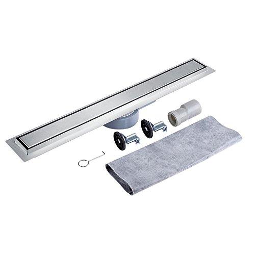 360 graden draaibare roestvrij stalen liniaal doucheafvoer voor tegels, vloerafvoer voor badkamer en keuken 90cm zilver.
