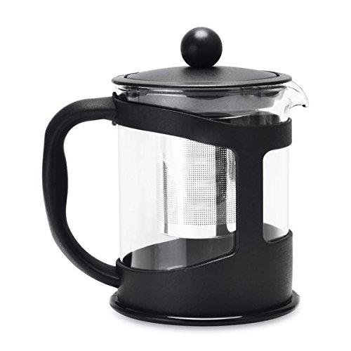 Berghoff Teekanne mit Sieb, Polypropylene, Hitzebeständige Borosilikatglas, 18/10 Edelstahl, schwarz, 0 cm