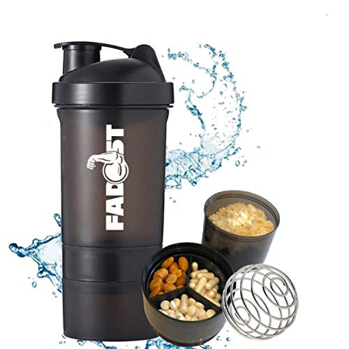 Fadost Protein Shaker mit zwei Pulverfächern, Shaker Ball, auslaufsicher, BPA-frei, 600ml