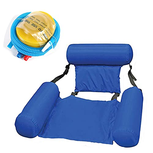 HTYA Inflatable Swimming Floating Chair Pool Seats Foldable Water Bed Lounge Chairs (Blue)