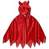 Kids Unisex Red Velour Hooded Devil Costume Cape -...