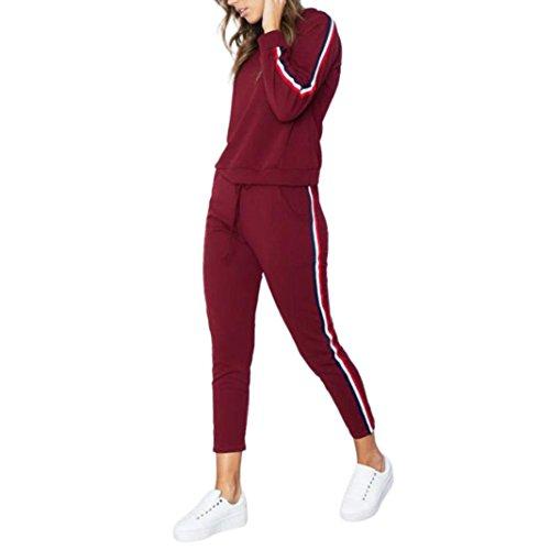 TUDUZ Damen Hausanzug Jogginganzug Jumpsuit Langarm Pullover Sportanzug Trainingsanzug Rundhals Sweatshirt Lang (L, Rot)