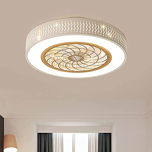 Beeki Ventilador de techo con ventilador de techo invisible ligero con luz, 17.7 pulgadas Moderno Lámpara de araña Moderno Semi Flush Mount 3 Colores Cambiar cuchillas ocultas Ventilador para dormitor