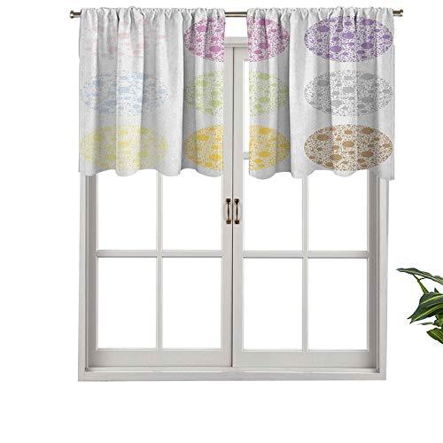 Hiiiman Cenefa de cortina con aislamiento térmico de diferentes colores, con diseño de lunares grandes, relleno de pequeñas figuras redondas, juego de 1, 91,4 x 45,7 cm para dormitorio, baño y cocina
