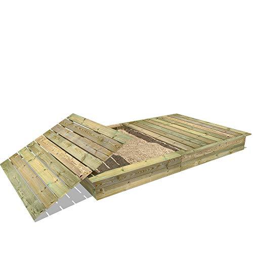 WICKEY Sandkasten Holz Sandkiste King Kong 195x300 cm mit Deckel