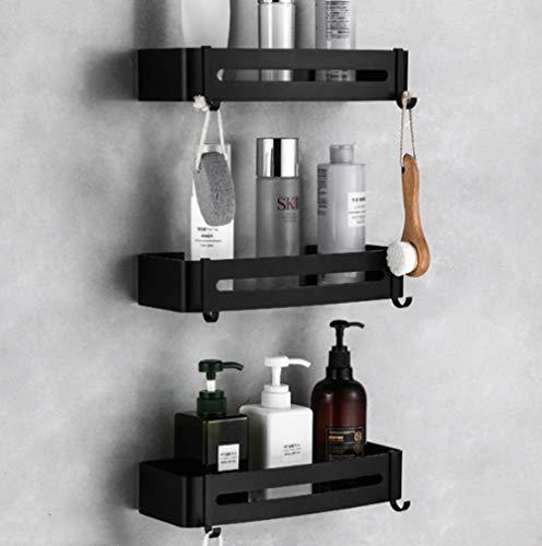 Bastidor de ba?o cromado - Space Aluminio Perforado Estante de baño Esquina Cuadrado negro Cuadrado Colgante de baño-C