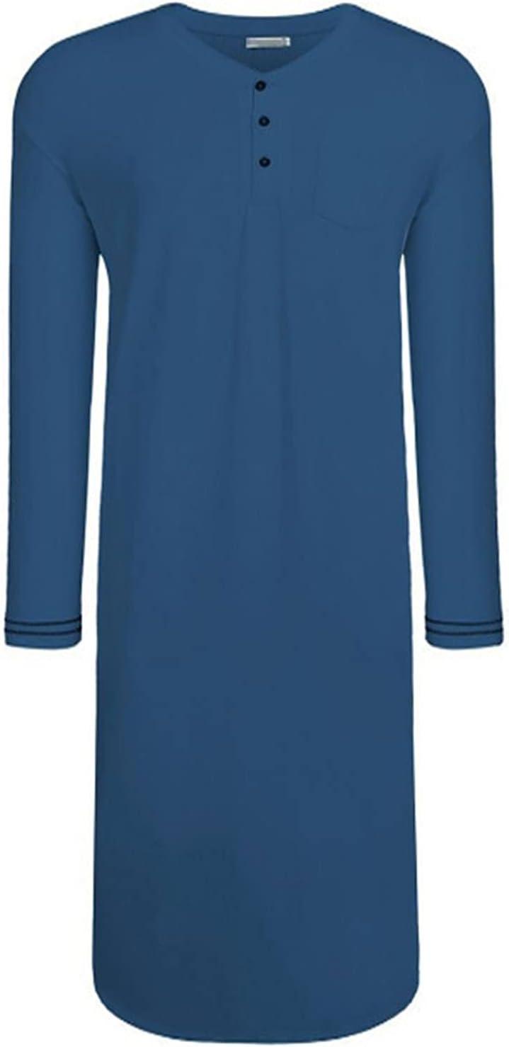 LZJDS Mens Nightshirt Pajama Top Long Sleeve Sleepwear Nightwear Lightweight Cotton Soft Nightgown,Blue,XL