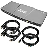 TESmart DisplayPort + HDMI Dual Monitor KVM Switch Support UHD 4K @ 60Hz USB 2.0 Devices Control Up to 2 Computers with (DP+HDMI+USB) Input Ports and 2 Montiors with HDMI Port (Grey)