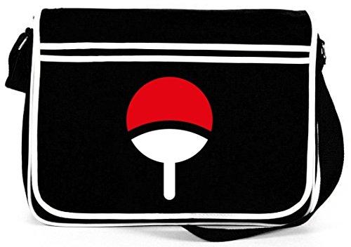 Shirtstreet24, Familie Uchiha, Retro Messenger Bag Kuriertasche Umhängetasche, Größe: onesize,Schwarz