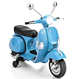 Costzon Kids Vespa Scooter, 6V Rechargeable Ride on Motorcycle w/Training Wheels, Key Switch, Music Horn Lights, Forward/Reverse, ASTM Certification, Gift for Children Boys Girls (Blue)