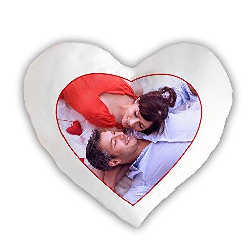 PixiPrints Personalisiertes Fotokissen mit Bild und Text * selbst gestalten mit eigenem Foto * hochwertig Bedruckt, Kissenfüllung:Ohne Kissenfüllung, Kissenbezug:Premium Kissenbezug Herz