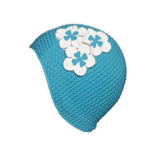 Fashy Damen Luftgefüllte Gummihaube mit Blumen Badehaube, Aqua, One Size