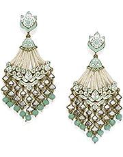 Zaveri Pearls Antique Gold Tone Embellished With Pearls & Meenakaari Dangle Earring For Women-ZPFK7383