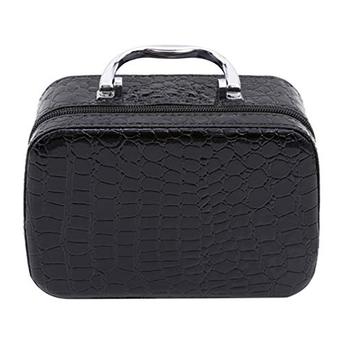 Yeucan Make Up Case Faux Leather Portable Travel Jewelry Cosmetic Box Organizer Storage Bag,Noir