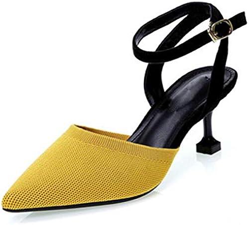 SHANG SHANG SHANG Damensandalen, gestrickt, hohe Absätze, eine Schnalle, Rücken, spitz  zurückhaltende Luxus-Konnotation