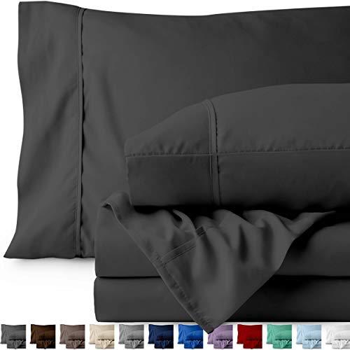 Bare Home Premium 1800 Ultra-Soft Microfiber Collection Sheet Set - Double Brushed - Hypoallergenic - Wrinkle Resistant - Deep Pocket (Full, Grey)