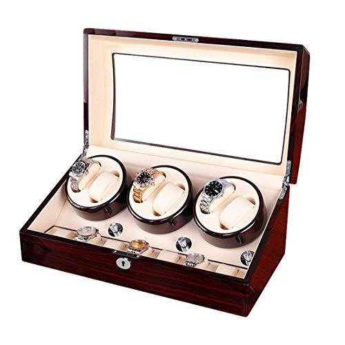 Sunmong Caja enrolladora de Reloj automática de Lujo, 5 Modos de rotación, Caja de Almacenamiento de Caja de Reloj eléctrica de Madera 6 + 7 (Color: B)