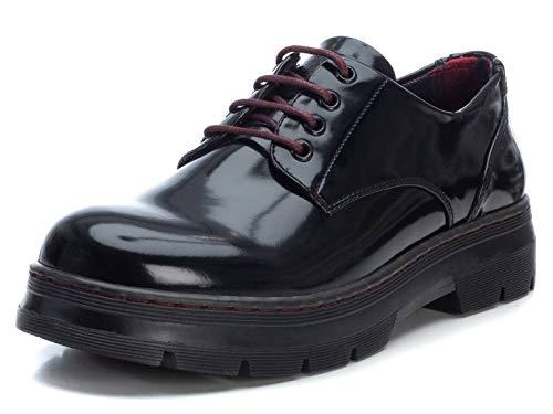 XTI - Zapato Oxford con tacón Cuadrado 4 cm para Mujer - Cierre con Cordones - Negro - 36 EU