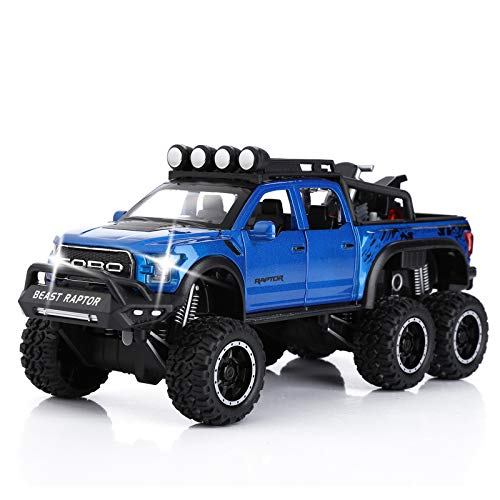 Toy Pickup Trucks for Boys F150 Raptor Diecast Metal Model Car with Sound and...