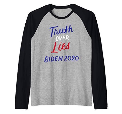 Verdad Sobre Mentiras Joe Biden 2020 Campaña Presidencial Camiseta Manga Raglan