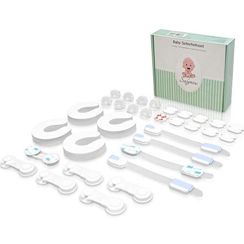 SALYNOW Baby Sicherheit - kindersicherung & Babysicherung - einzigartiges Sicherheitsset für Baby - Steckdosensicherung, Schranksicherung, Eckenschutz usw. mit Ersatzkleber