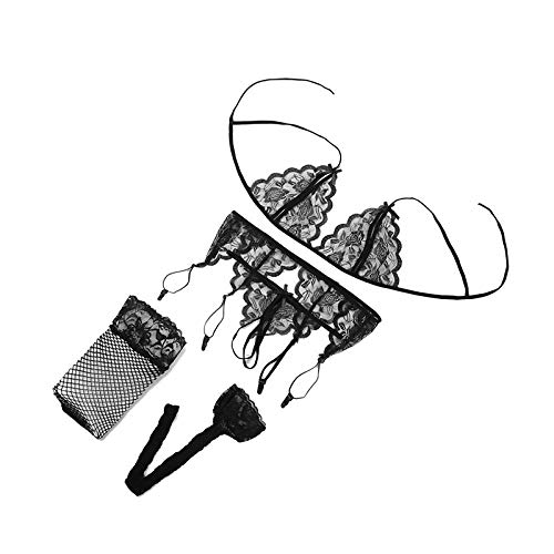 SJAKMA Ropa Interior,Conjunto De Lencería Sexy Ropa Interior De Mujer Conjunto Tentación Erótica Bra G-String &Amp; Red Socks &Amp; Cabestrillo Lace Push Up Sujetador Transparente Establecida,C